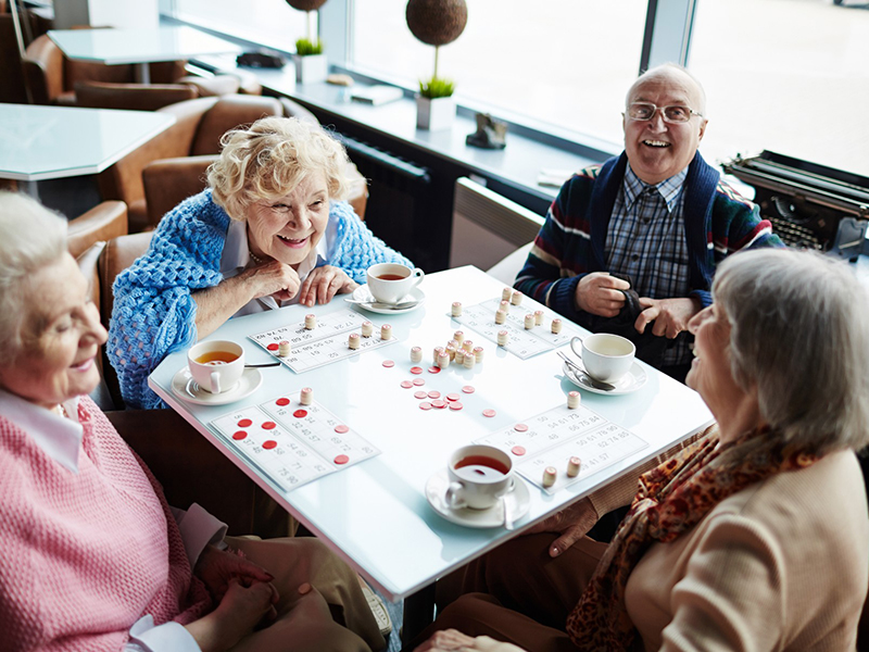 старики играют в настольную игру